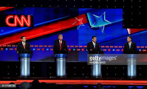 Florida Senator Marco Rubio Donald Trump and Texas Senator Ted Cruz and Ohio Governor John Kasich during the CNN Republican Presidential Debate March...