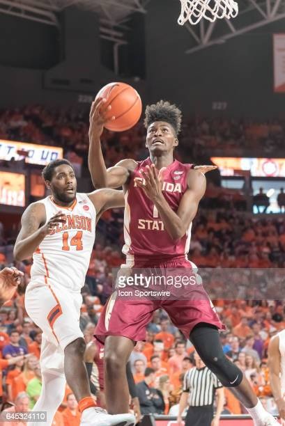 Florida St forward Jonathan Isaac goes in for a lay up during 1st half action between the Clemson Tigers and the Florida State Seminoles on February...