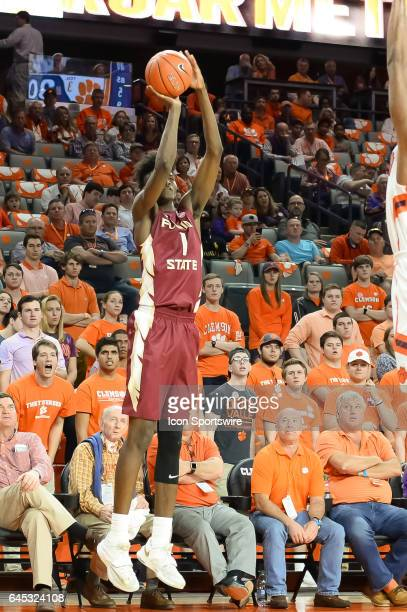 Florida St forward Jonathan Isaac shoots from the corner during 1st half action between the Clemson Tigers and the Florida State Seminoles on...