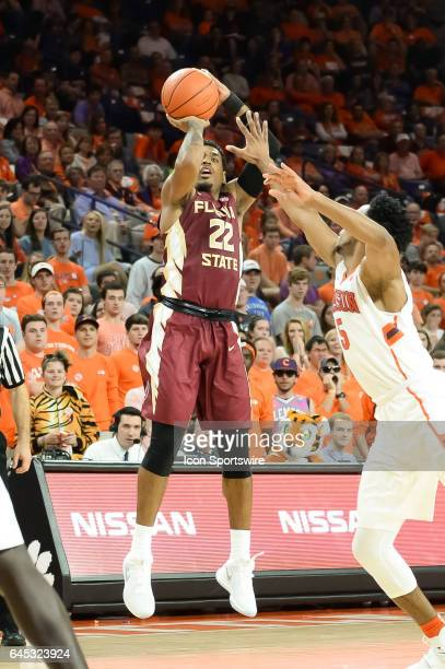 Florida St guard Xavier Rathan Mayes shoots a jump shot during 1st half action between the Clemson Tigers and the Florida State Seminoles on February...
