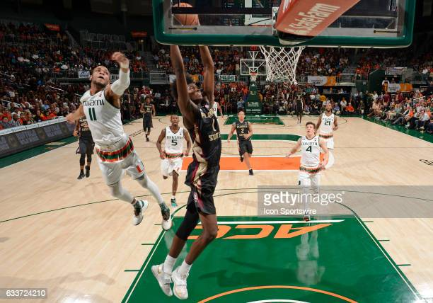 Florida State forward Jonathan Isaac dunks during a college basketball game between the Florida State University Seminoles and the University of...