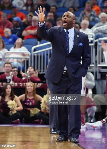 Florida State head coach Leonard Hamilton on the sidelines against Xavier in the second round of the NCAA Tournament at the Amway Center in Orlando...