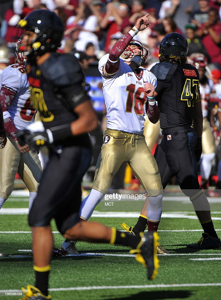 Florida State kicker Dustin Hopkins celebrates his 26-yard field goal in the 2nd quarter against Maryland at Byrd Stadium in College Park, Maryland, on Saturday, November 17, 2012. The Florida State Seminoles defeated the Maryland Terrapins, 41-14.