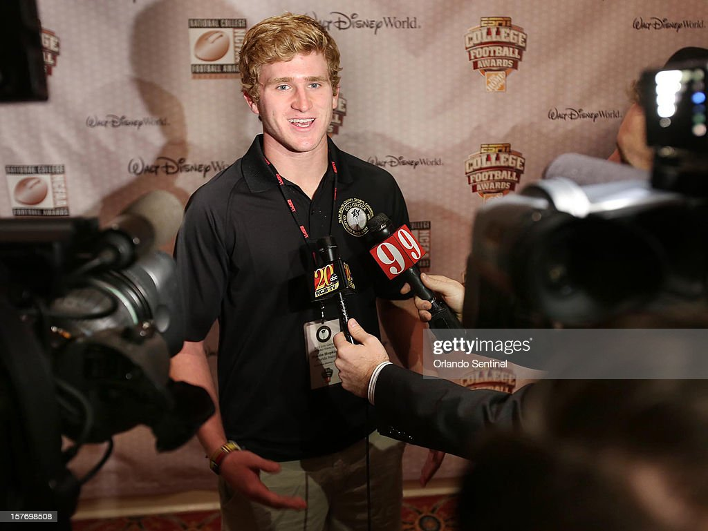Florida State kicker Dustin Hopkins is interviewed during a media availability event for the ESPN College Football Awards at Disney's Boardwalk Inn on Wednesday, December 5, 2012, in Orlando, Florida.