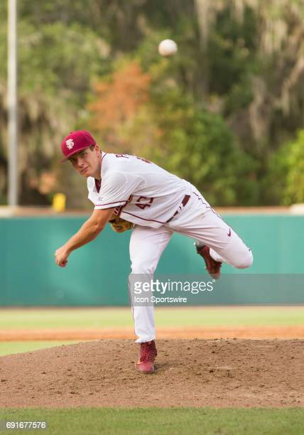 Florida State Pitcher Drew Parrish has 12 strike outs through seven innings during the NCAA Regional between the Florida State Seminoles and the...