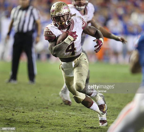Florida State running back Dalvin Cook runs for a fourthquarter touchdown against Florida at Ben Hill Griffin Stadium in Gainesville Fla on Saturday...