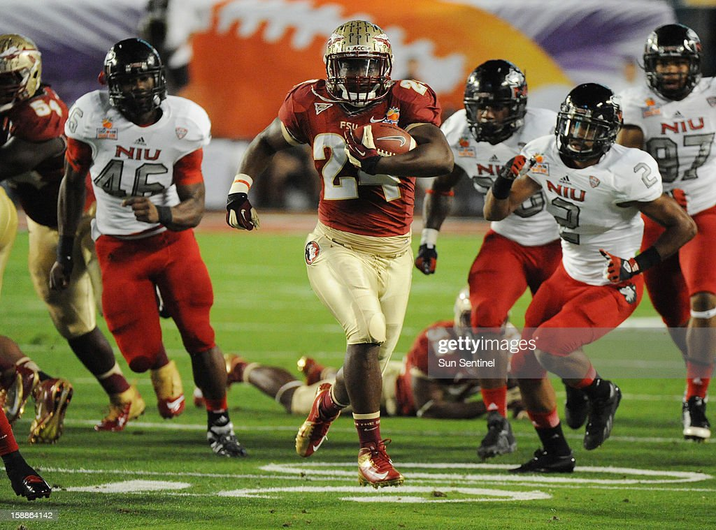 Florida State running back Lonnie Pryor breaks free for a 60-yard touchdown run against Northern Illinois in the first quarter of the Discover Orange Bowl on Tuesday, January 1, 2013, in Miami Gardens, Florida.