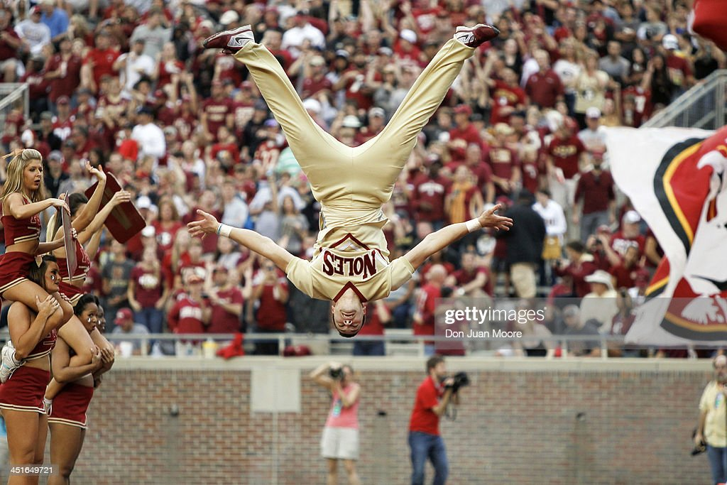 A Florida State Seminoles Cheerleader performs during the game against the Idaho Vandals at Doak Campbell Stadium on Bobby Bowden Field on November 23, 2013 in Tallahassee, Florida. 2nd Ranked Florida State defeated Idaho 80 to 14.