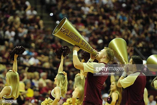 Florida State Seminoles cheerleaders shout through megaphones during the Atlantic Coast Conference game against the Notre Dame Fighting Irish on...