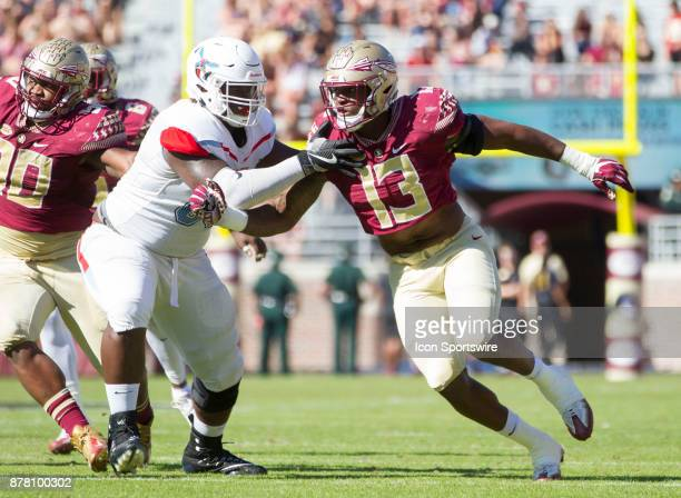 Florida State Seminoles defensive end Joshua Kaindoh rushes off the edge during the game between the Delaware State Hornets and the Florida State...