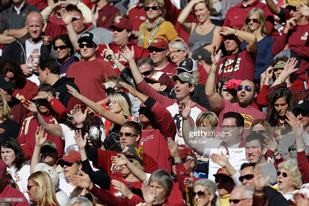 Florida State Seminoles fans cheer following a touchdown against the Maryland Terrapins at Byrd Stadium on November 17, 2012 in College Park, Maryland.