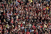 Florida State Seminoles fans cheer in the stands during the College Football Playoff Semifinal against the Oregon Ducks at the Rose Bowl Game...
