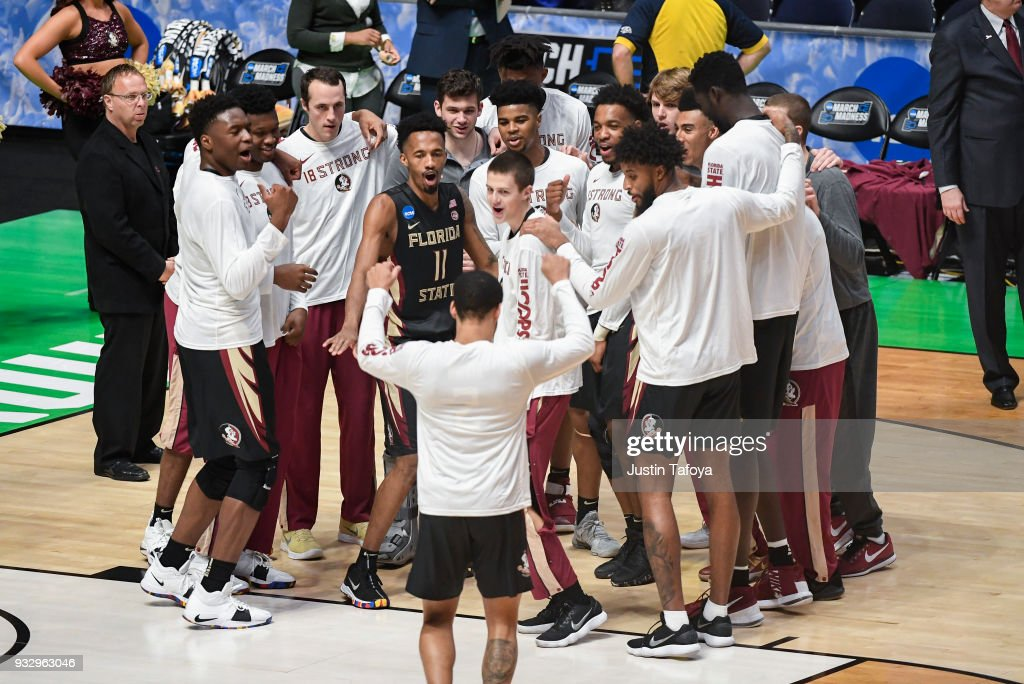 Florida State Seminoles getting ready for game against the Missouri Tigers in the first round of the 2018 NCAA Men's Basketball Tournament held at Bridgestone Arena on March 16, 2018 in Nashville, Tennessee.