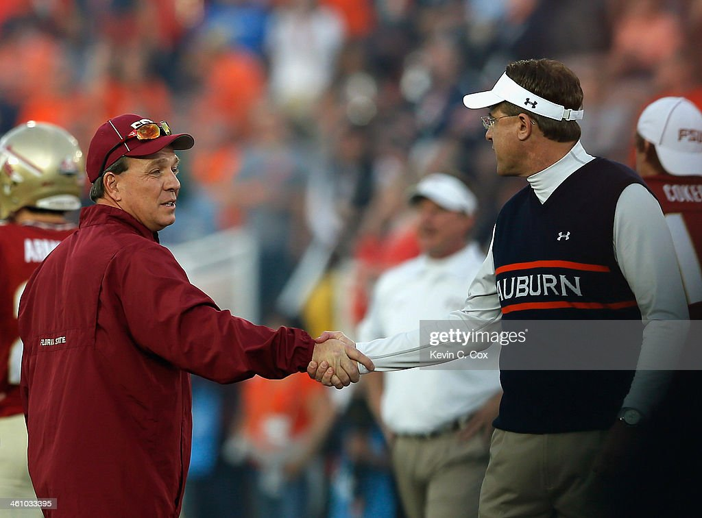Florida State Seminoles head coach <a gi-track='captionPersonalityLinkClicked' href=/galleries/search?phrase=Jimbo+Fisher&family=editorial&specificpeople=4505734 ng-click='$event.stopPropagation()'>Jimbo Fisher</a> and Auburn Tigers head coach <a gi-track='captionPersonalityLinkClicked' href=/galleries/search?phrase=Gus+Malzahn&family=editorial&specificpeople=3950993 ng-click='$event.stopPropagation()'>Gus Malzahn</a> shake hands prior to the 2014 Vizio BCS National Championship Game at the Rose Bowl on January 6, 2014 in Pasadena, California.