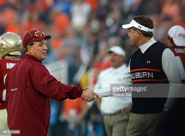 Florida State Seminoles head coach Jimbo Fisher and Auburn Tigers head coach Gus Malzahn shake hands prior to the 2014 Vizio BCS National...