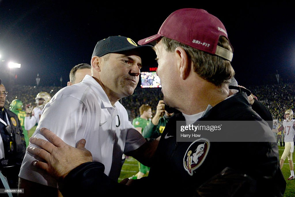 Florida State Seminoles head coach <a gi-track='captionPersonalityLinkClicked' href=/galleries/search?phrase=Jimbo+Fisher&family=editorial&specificpeople=4505734 ng-click='$event.stopPropagation()'>Jimbo Fisher</a> congratulates Oregon Ducks head coach <a gi-track='captionPersonalityLinkClicked' href=/galleries/search?phrase=Mark+Helfrich+-+Coach&family=editorial&specificpeople=13496588 ng-click='$event.stopPropagation()'>Mark Helfrich</a> on his win following the College Football Playoff Semifinal at the Rose Bowl Game presented by Northwestern Mutual at the Rose Bowl on January 1, 2015 in Pasadena, California. Oregon defeated Florida State 59-20.