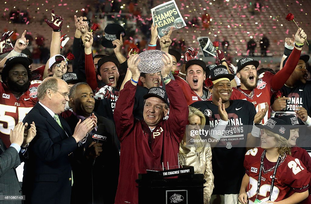Florida State Seminoles head coach <a gi-track='captionPersonalityLinkClicked' href=/galleries/search?phrase=Jimbo+Fisher&family=editorial&specificpeople=4505734 ng-click='$event.stopPropagation()'>Jimbo Fisher</a> holds the Coaches' Trophy after defeating the Auburn Tigers 34-31 in the 2014 Vizio BCS National Championship Game at the Rose Bowl on January 6, 2014 in Pasadena, California.