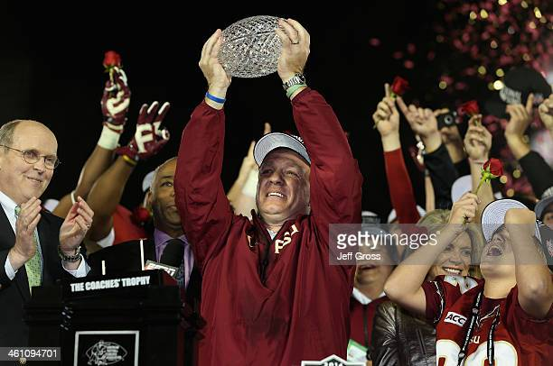 Florida State Seminoles head coach Jimbo Fisher holds the Coaches' Trophy after defeating the Auburn Tigers 3431 in the 2014 Vizio BCS National...