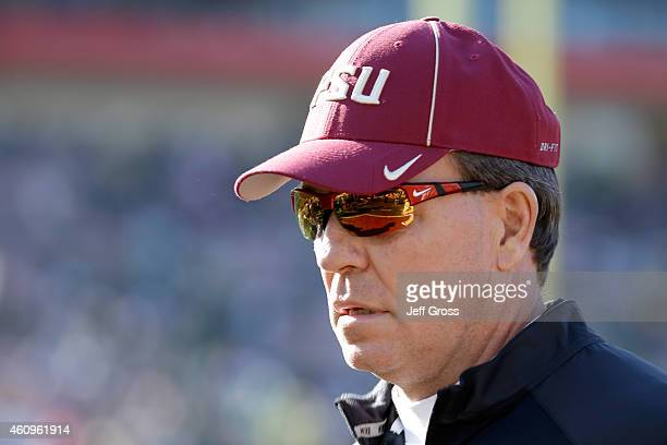 Florida State Seminoles head coach Jimbo Fisher looks on during the College Football Playoff Semifinal at the Rose Bowl Game presented by...