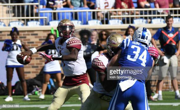Florida State Seminoles quarterback James Blackman sets for the forward pass during a college football game between the Florida State Seminoles and...