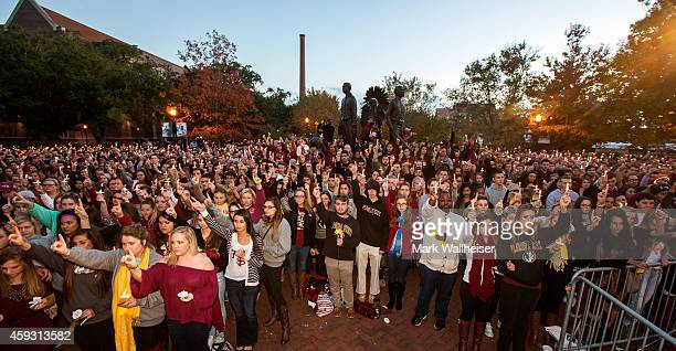 Florida State University students gather at the Gathering of Unity candlelight vigil on campus after the shooting of three FSU students earlier in...