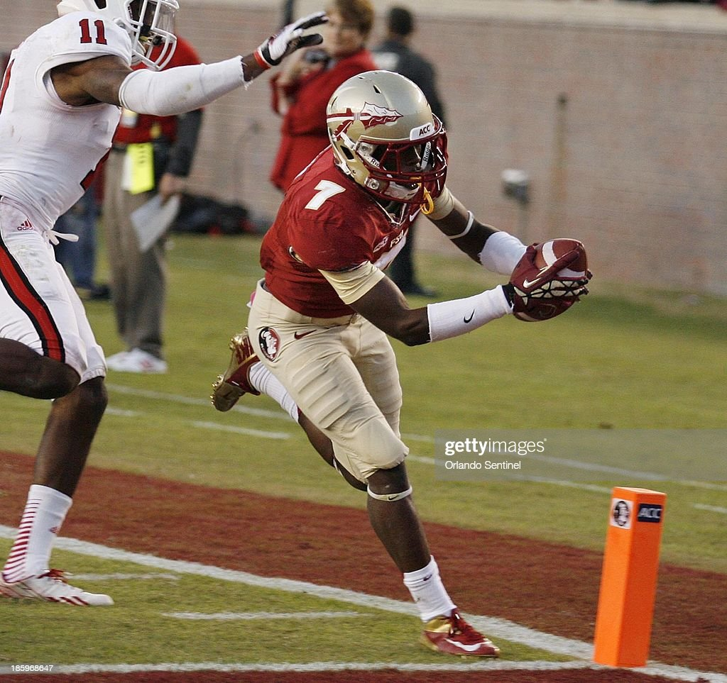 Florida State wide receiver Levonte Whitfield finishes off a 31-yard touchdown run in the fourth quarter against North Carolina State at Doak Campbell Stadium in Tallahassee, Florida, on Saturday, October 26, 2013. Florida State won, 49-17.
