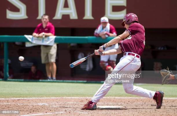Florida State's Cal Raleigh gets a hit during the NCCA Division I Tallahassee Super Regional game between the Sam Houston State Bearkats and the...