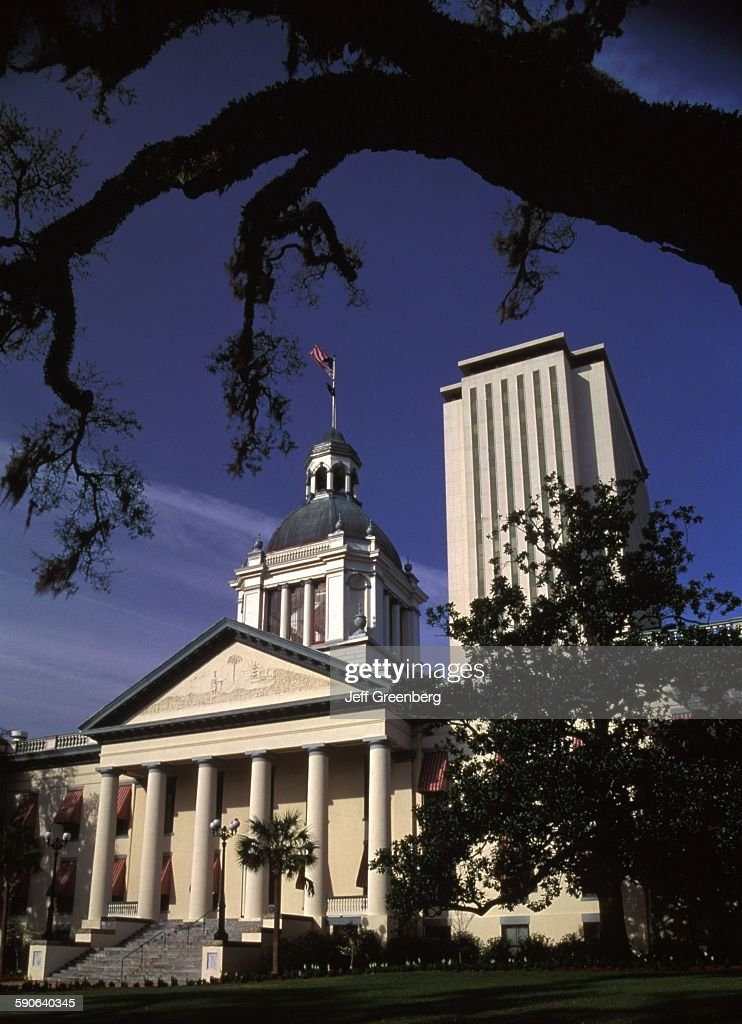 Florida Tallahassee Old Capitol Building On Left Built 1902 New Capitol Building On Right