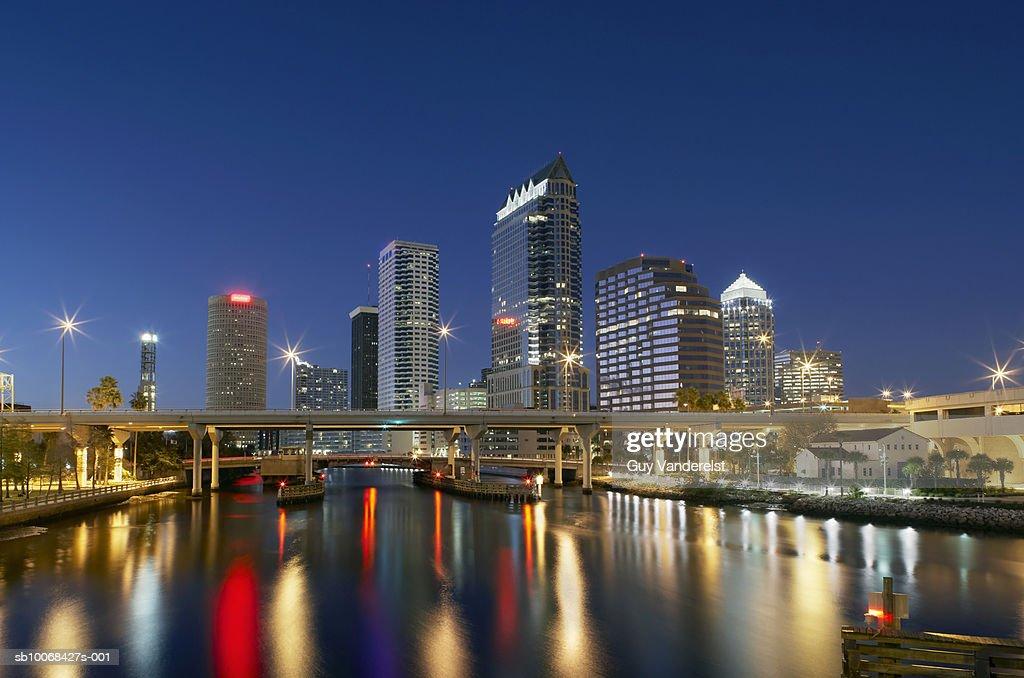 USA, Florida, Tampa skyline with Hillsborough river, night : Stock Photo