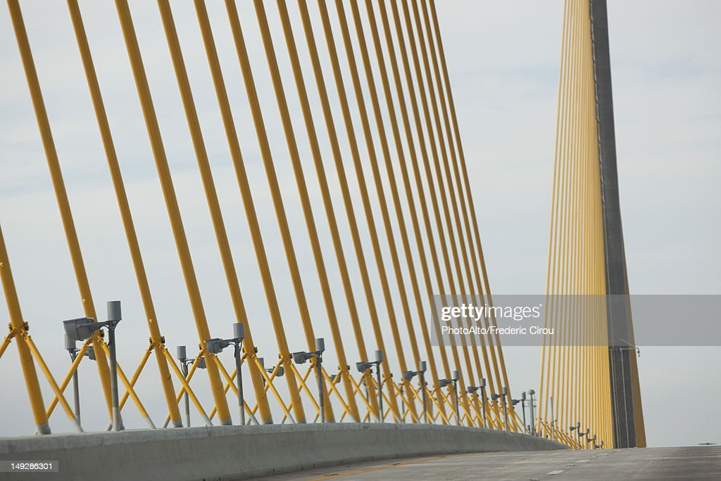 USA, Florida, Tampa, Sunshine Skyway Bridge, close-up of cable supports