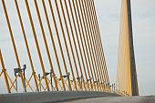 USA, Florida, Tampa, Sunshine Skyway Bridge, close-up of cable supports