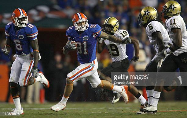Florida tight end Aaron Hernandez runs for a 64yard reception during the fourth quarter against Vanderbilt at Ben Hill Griffin Stadium in Gainesville...