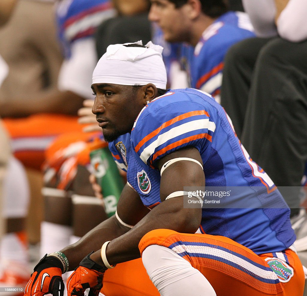 Florida tight end Omarius Hines looks dejected on the sidelines during action against Louisville in the Allstate Sugar Bowl at the Mercedes-Benz Superdome on Wednesday, January 2, 2013, in New Orleans, Louisiana.