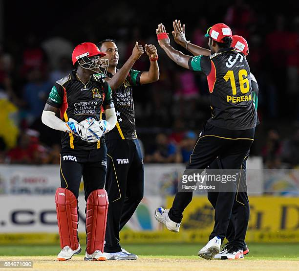 Florida United States 29 July 2016 Samuel Badree of St Kitts and Nevis Patriots celebrates the dismissal of Denesh Ramdin of Trinbago Knight Riders...