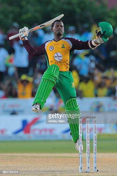 Florida United States 30 July 2016 Jason Mohammed of Guyana Amazon Warriors leaps in celebration as his 57 runs leads Guyana to victory during the...