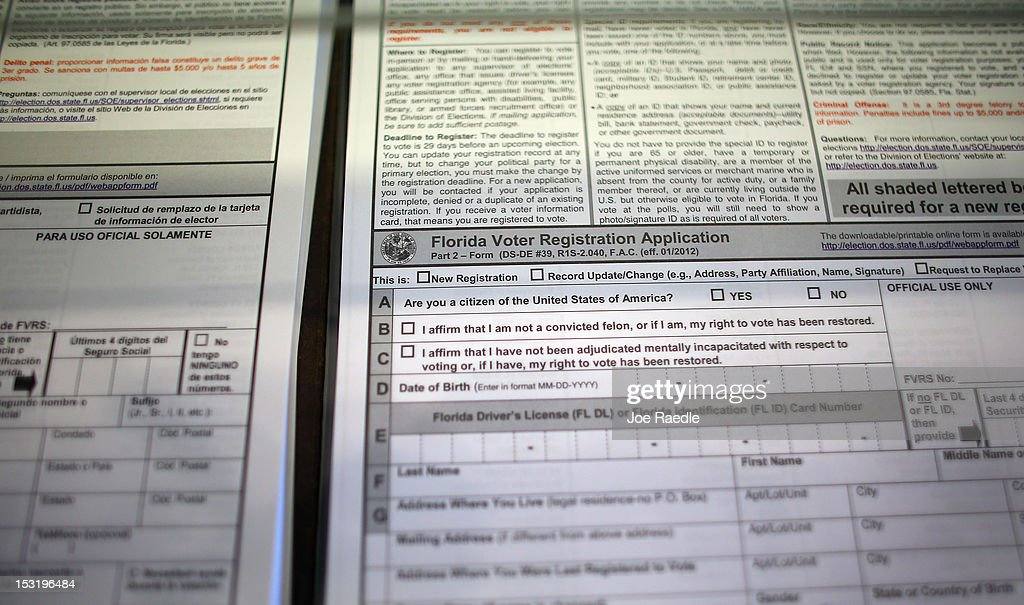 Florida Voter Registration Application sits at the MiamiDade Elections Department on October 1 2012 in Miami Florida With the October ninth deadline...
