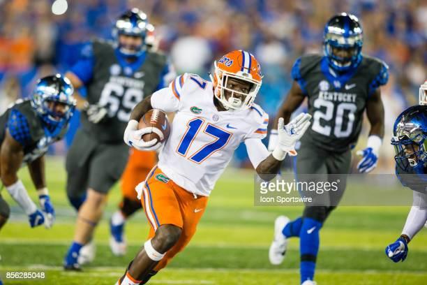 Florida wide receiver Kadarius Toney runs the ball during a regular season college football game between the Florida Gators and the Kentucky Wildcats...