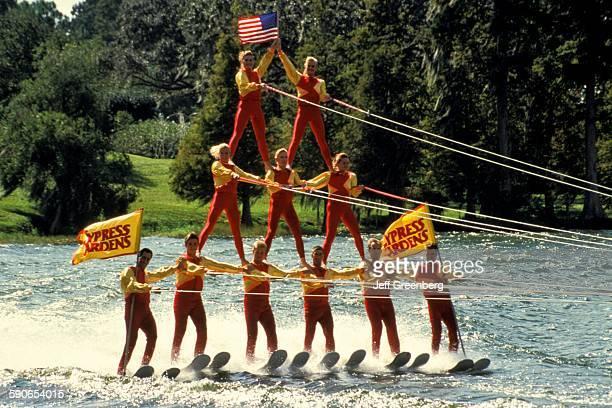 Florida Winter Haven Cypress Gardens Water Ski Show Human Pyramid