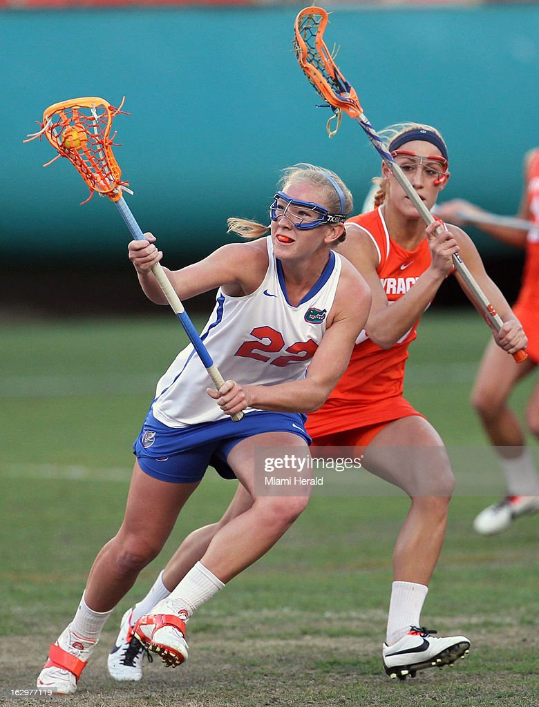 Florida's Brittanny Dashiell (22) cradles the ball during action against Syracuse in the Orange Bowl Lacrosse Classic at Sun Life Stadium in Miami Gardens, Florida, on Saturday, March 2, 2013.