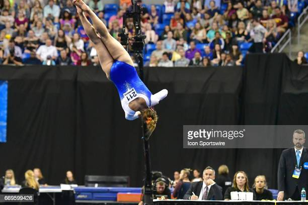 Florida's Grace McLaughlin performs an aerial roll during her floor exercise routine during the finals of the NCAA Women's Gymnastics National...