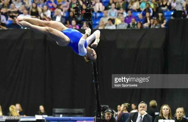 Florida's Grace McLaughlin performs an aerial roll during her floor exercise during the finals of the NCAA Women's Gymnastics National Championship...