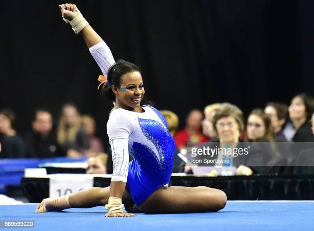 Florida's Kennedy Baker finishes her floor exercise routine during the finals of the NCAA Women's Gymnastics National Championship on April 15 at...