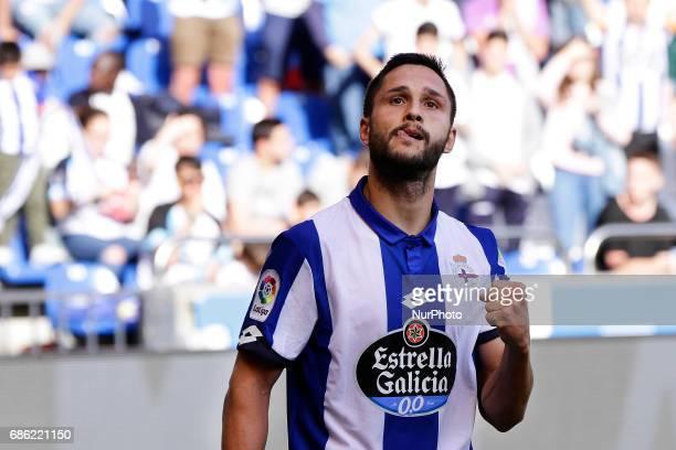 Florin Andone forward of Deportivo de La Coruña during the La Liga Santander match between Deportivo de La Coruña and Union Deportiva Las Palmas at...