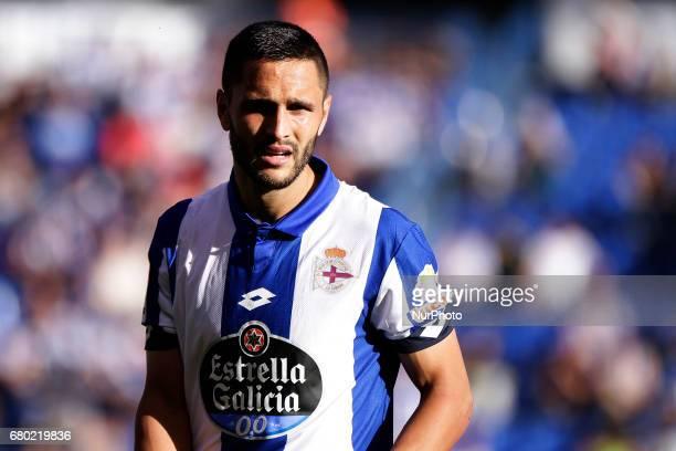 Florin Andone forward of Deportivo de La Coruna during the La Liga Santander match between Deportivo de La Coruna and RCD Espanol at Riazor Stadium...