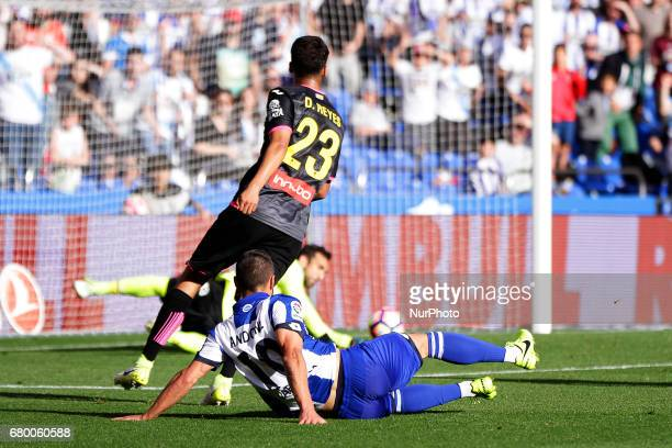 Florin Andone forward of Deportivo de La Coruna shoots on goal during the La Liga Santander match between Deportivo de La Coruna and RCD Espanol at...