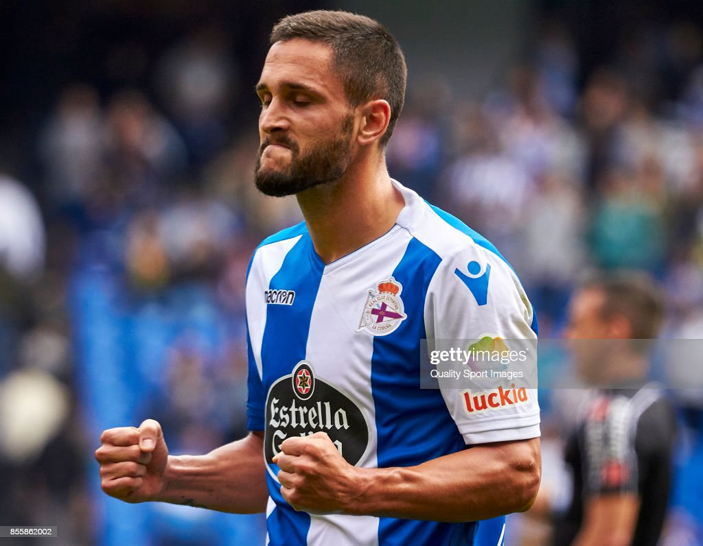 Florin Andone of Deportivo de La Coruna celebrate the victory of his team during the La Liga match between Deportivo La Coruna and Getafe at Abanca Riazor Stadium on September 30, 2017 in La Coruna, Spain.