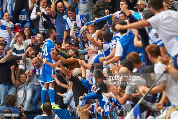 Florin Andone of Deportivo de La Coruna celebrates after scoring the second goal of his team during the La Liga match between Deportivo La Coruna and...