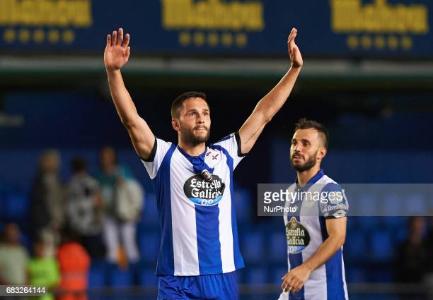 Florin Andone of Deportivo de la Coruna celebrates their stay in the first division another year more during their La Liga match between Villarreal...