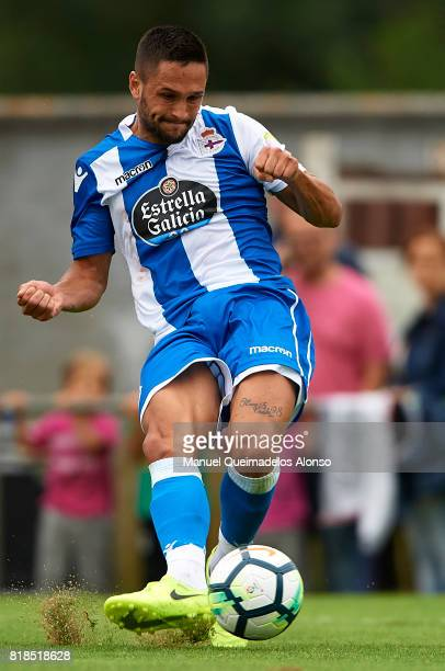 Florin Andone of Deportivo de La Coruna in action during the preseason friendly match between Cerceda and Deportivo de La Coruna at O Roxo Stadium on...