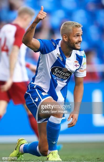 Florin Andone of Deportivo de La Coruna reacts during the Pre Season Friendly match between Deportivo de La Corua and West Bromwich Albion at Riazor...